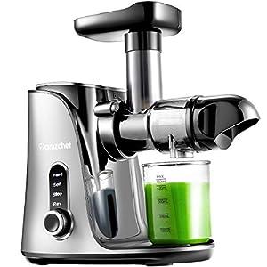 Licuadora prensada en frío, AMZCHEF licuadora de frutas y verduras, Extractor de zumos con 2 velocidades, panel de pantalla LED, 2 botellas de agua(500ML), cepillo fácil de limpiar,Plata