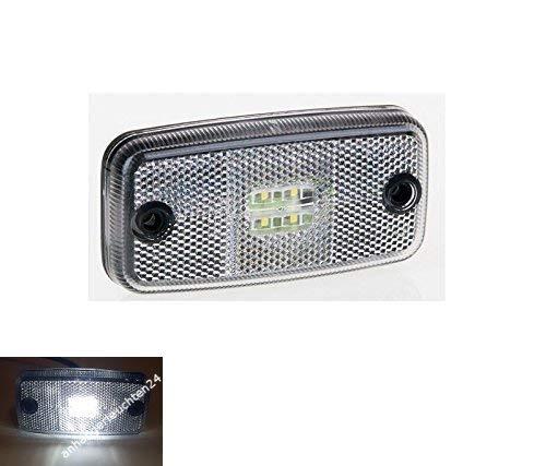 LED Umrissleuchte Begrenzungsleuchte Positionsleuchte ohne Halter 12-30 V Anhänger LKW Wohnwagen Nutzfahrzeuge Trailer (weiß)