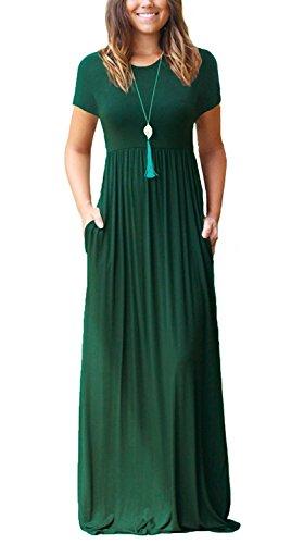 VIISHOW Women's Short Sleeve Loose Plain Maxi Dresses Casual Long Dresses with Pockets(Dark Green,Large)