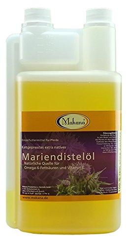 Makana Mariendistelöl für Tiere, kaltgepresst, 100% rein, 1000 ml Dosierflasche (1 x 1 l)
