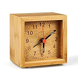 LINGSFIRE Alarm Clock Battery Operated, Bamboo Wooden Bedroom Clock Handmade Classic Home Alarm Clock Desk Table Wood Clock with Luminous Night Pointer Silent Non Ticking for Bedroom Kitchen Office