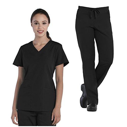 Tru Basic Womens V-Neck Top 10102 & Half Elastic Drawstring Pant 90102 Scrub Set (Black, X-Large Petite)