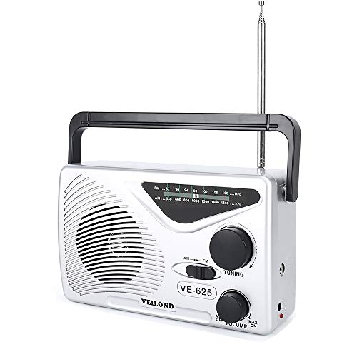 VEILOND AM FM Portable Radio Player, Best Reception and Longest Lasting, AC Powered or Battery Operated Vintage AM FM Compact Transistor Radio (Sliver)