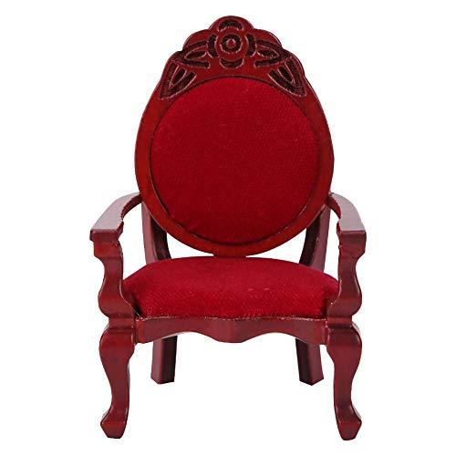 Poppenhuismeubilair, 1:12 Miniatuur houten eetkamerstoel Enkele stoel Poppenhuis Speelgoed voor thuis Woonkamer Keukenornamenten