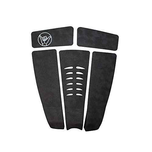 South Bay Board Co. - Surfboard Traction & Stomp Pads - 5-Piece Back Tail Set in Black - Comfortable Fingerprint Textured Foam Grip & Long-Lasting for Surfboards, Paddleboards & Skimboards