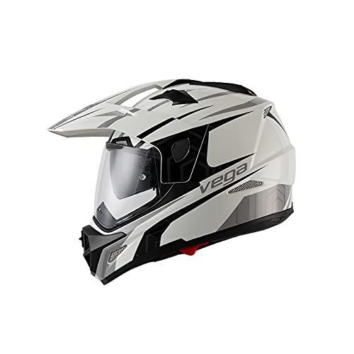 LIONCIANO Casco de Motocross Dot/ECE Homologado, Casco de Moto Cross Integral MX Enduro para Mujer Hombre, Casco Cross con Visera para Quad Off Road ATV Scooter(Blanco, 3XL=63-64cm)