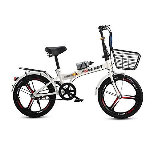Bicicleta, Bicicleta de Ocio Plegable de 20 Pulgadas, Bicicleta de Viaje de una Sola Velocidad, Marco de Acero con Alto Contenido de Carbono, Sistema de Freno Doble, para Adultos/Adolescentes