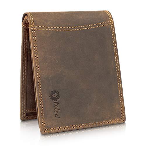 TALED® Geldbörse Herren aus hochwertigem Vintage Leder mit RFID-Schutz - Geldbeutel inkl. E-Book zur Lederpflege - Portemonnaie Wallet - Made in Germany