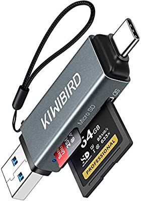 KiwiBird USB C SD Card Reader, Micro SD to USB 3.0 Type C OTG Adapter for SDHC SDXC Micro SDXC/SDHC UHS-I Cards Compatible with MacBook Air Pro, iPad Pro 2020/2018, Galaxy S20, Surface, HUAWEI, More