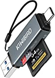 KiwiBird Lector de Tarjetas USB C, Adaptador SD/Micro SD a USB 3.0 Tipo C para SDHC SDXC MicroSDHC/SDXC UHS-I Compatible con MacBook Pro, iPad Pro 2020/2018, Galaxy S20/Note 10, Surface Go 2, Xiaomi