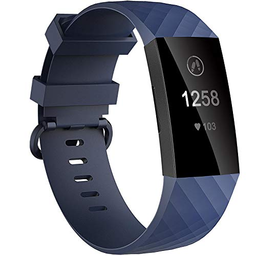 Velavior Waterproof Bands for Fitbit Charge 3/ Fitbit Charge 4/ Charge3 SE, Replacement Wristbands for Women Men Small Large (Navy, Small)