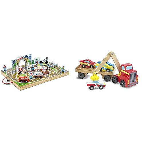 Melissa & Doug Take-Along Town & Magnetic Car Loader