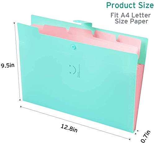 Sooez 4 Pack Expanding File Folders, Accordion Folders Plastic Folders Expanding Folders A4 Letter Size Document Organizer with File Folder Labels(Multicolored) Photo #7