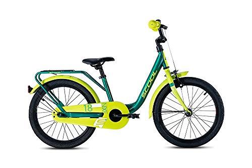 S'COOL Juniorbikes Mädchen S'COOL niXe Steel Kinderfahrrad, Green/Lemon, 18
