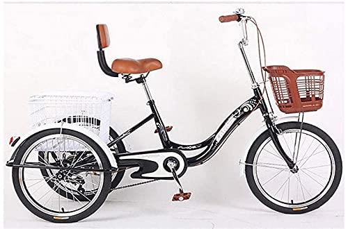 SN Triciclo 3 Ruedas para Adultos Crucero De Carga con Cesta para Comprar O Espalda Alta Bicicleta De Ejercicio para Hombres Mujeres Bicicleta (Color : Black)
