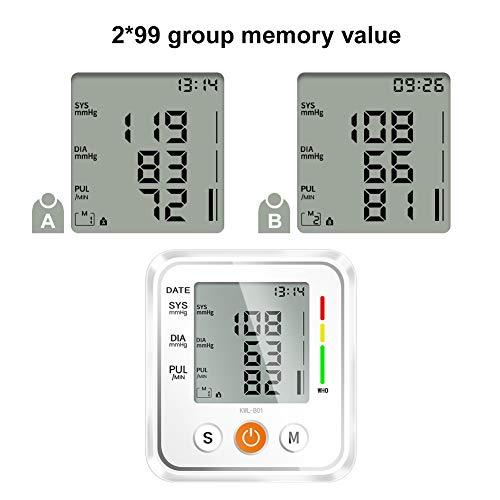41hGBVa6R3L - NWOUIIAY Tensiómetro de Brazo Eléctrico Digital con Monitoreo de Arritmia Memorias de 2 Usuarios(2 * 99) Gran Pantalla LCD Brazalete 22-42cm Blanco