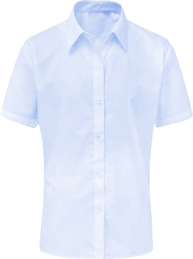 DON Last Man Stands Girls Short Sleeve Blouse Shirt School Uniform White Sky Blue UK