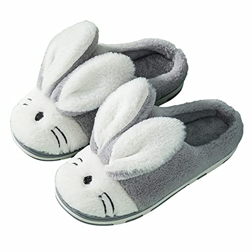 Dwevkeful Unisex Erwachsene Cartoon-Hase Kuschelige Warm Plüsch Pantoffeln rutschfeste Weiche Bequeme Kaschmir Flauschige Slippers Hausschuhe aus Baumwolle Hüttenschuhe