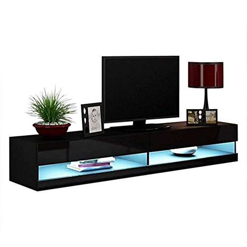 Concept Muebles 80 Inch Seattle High Gloss LED TV Stand - Black