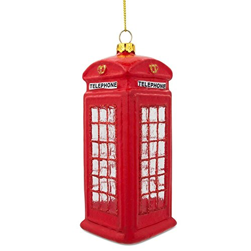 BestPysanky London Red Telephone Booth Glass Christmas Ornament 5 Inches