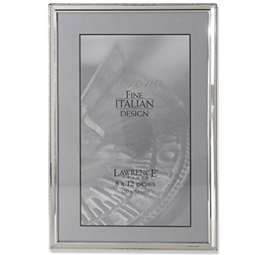 Lawrence Frames Polished Silver Plate 8 by 12-Inch Picture Frame, Bead Border Design