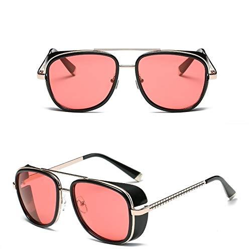 Gafas de Sol Sunglasses Hombre Gafas De Sol Hombres Mujeres Revestimiento Diseño Vintage Gafas De Sol Tonos Retro Gafas A Prueba De Viento 09Red
