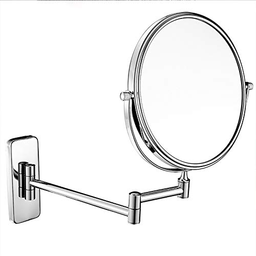 FREEDOH Espejo de Pared en el baño Espejo de Aumento de 8 Pulgadas 3X / 5X / 7X / 10x aumentos Ronda de Doble Cara cosmética Afeitar instalación Extensible Ocultos,Plata,8 in10X