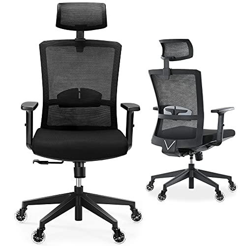 Ergonomic Office Chair, Tribesigns Desk Chair with 2D Adjustable Headrest High Back Task Mesh Chair with Lumbar Support Thick Seat Cushion, Blade Wheels, Gaming Chairs, Executive Swivel Chair