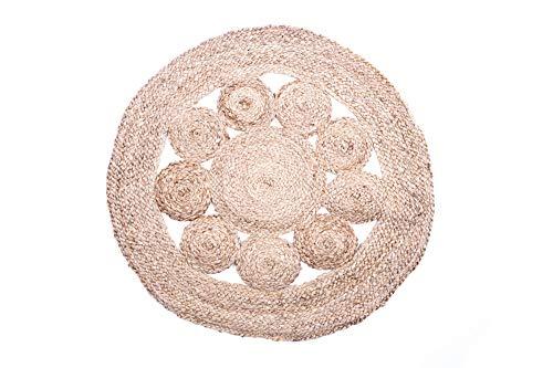 EMAKO Tapis Boho Tapis rond en toile de jute Boho Mandala 80 cm