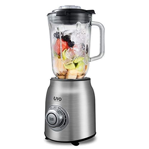 UIO Blender, Professional Countertop Blenders for Kitchen, Blender for Shakes and Smoothies, 1600 Peak Watts, 304 Stainless Steel Blades, Infinite Speed Control, 60 oz Glass Pitcher