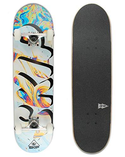 Skip Skateboard Fluid Komplettboard 7-Ply Ahornholzkonstruktion 20 x 80 cm ABEC 7 Chrome Bearings mit 52mm 98A Rollen für Anfänger Fortgeschrittene Profis Kinder und Erwachsene