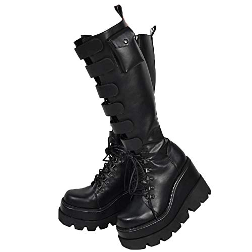 Womens Wedge Platform Over The Knee Boots Chunky High Heel Side-Zip Lace-Up Motorcycle Boots Combat Boots For Women