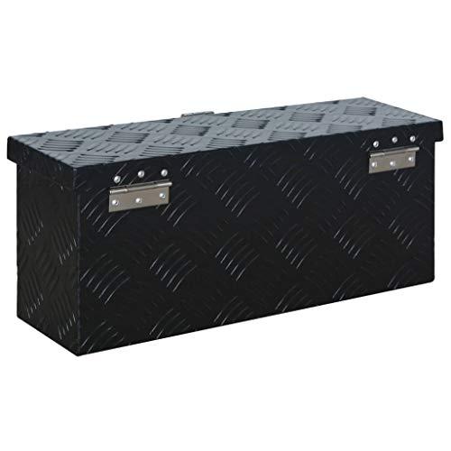 vidaXL Aluminiumkiste Transportkiste Transportbox Werkzeugkiste Werkzeugbox Deichselbox Alubox Alukoffer Lagerbox 485x140x200 mm Schwarz Aluminium - 3