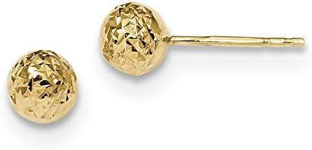 14k 6mm Diamond-Cut Ball Post Earrings