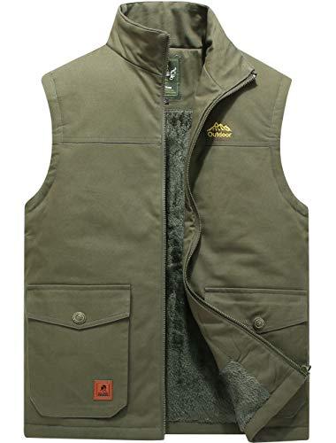 XinYangNi colete masculino de inverno quente para uso ao ar livre acolchoado acolchoado de lã grossa jaqueta sem mangas, 9/Army Green, X-Large