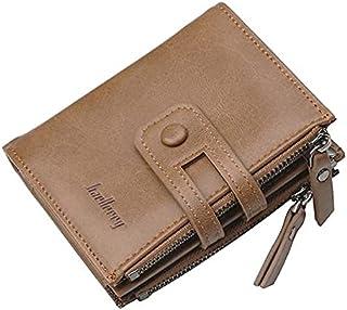 محفظة جلد صناعي لون بني للجنسين