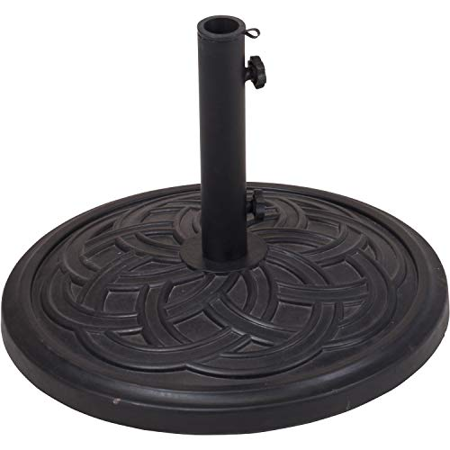 Parkland 12.5kg Polystone Patterned Round Parasol Base Garden Outdoor Decorative Patio Furniture Accessory Umbrella Holder Strong Stable Durable