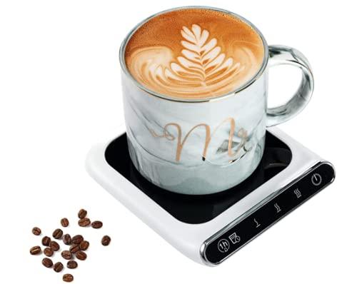 Coffee Mug Warmer, Coffee Cup Warmer for Desk with Auto Shut Off, USB Charge Coffee Mug Warmer with 3 Temperature Control, Smart Coffee Warmer for Heating Milk, Coffee (White)