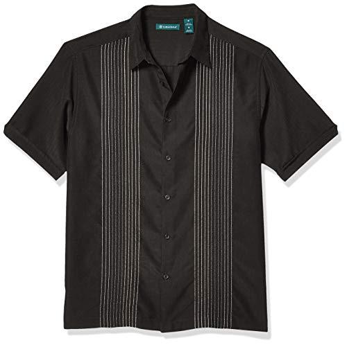Cubavera Men's Striped Panel Dobby Button Down Shirt, Jet Black, X-Large