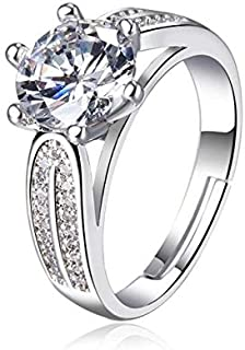 JRosee Swarovski Element Wedding Engagement Ring for Women Adjustable Size