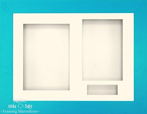 BabyRice Anika-Baby 29,2 x 21,6 cm Finition Bleue Cadre 3D/3 Trous Passe-Partout crème