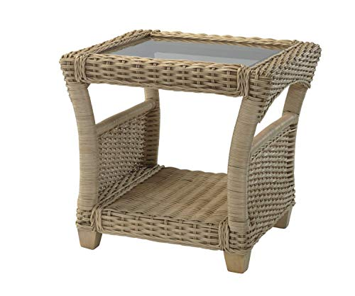 Desser Arlington Wicker Side Table with Storage Shelf – Fully Assembled Glass Top Lamp Table with Natural Rattan Cane Frame – Indoor Conservatory or Living Room Furniture – H57cm x W59cm x D59cm