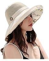 ASSQI Cotton Linen Reversible Wide Brim Bucket Hats for Women Foldable Beach Sun Hats with Chin Strap UPF 50+ Beige