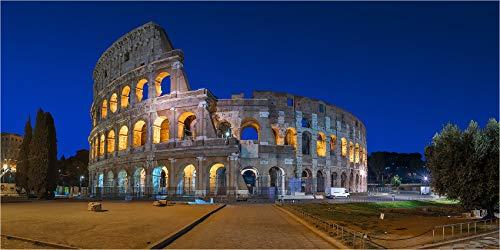 Leinwandbild bis 280 cm Breite, Panoramabild Sonnenaufgang Rom Kolosseum, Fineart Leinwandbild hochwertige Wanddeko Wandbild in Galerie Qualität auf Original Canvas© Künstler Leinwand