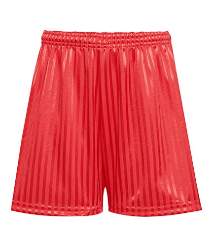 Rohi Shadow Stripe Gym Sports Games School PE Shorts Unisex, Children's Drawstring PE Shorts Uniform - 15-16 Years Medium Mens, Red