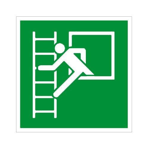 Notausgang - Rettungsfenster / Notfenster mit Fluchtleiter Folie selbstklebend 200 x 200