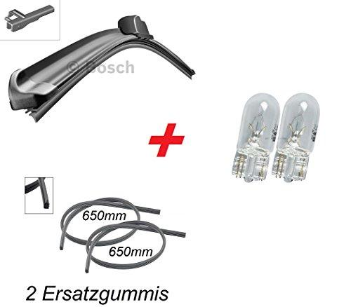 BOSCH Aerotwin A960S Scheibenwischer Wischerblatt Wischer vorne 1x 750 mm + 2x Ersatzgummis + 2x T10 Lampen