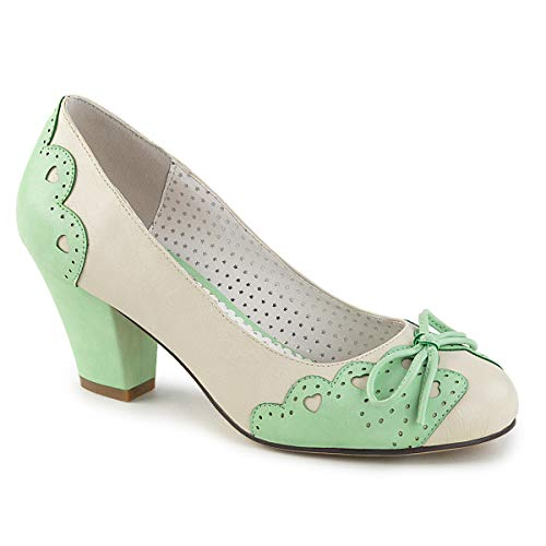 Pin up Couture WIGGLE-17 Cream-Mint Faux Leather UK 5 (EU 38)