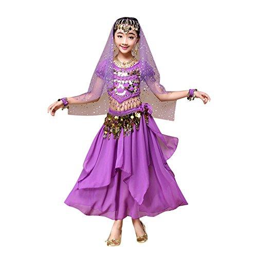 Indische Kleidung Bollywood Orient Kleid Kinder Mädchen Bauchtanz Outfit Kostüm Indien Dance Kleidung Top + Rock 2Sets Piebo Ärmelloses Camisole Langer Rock Chiffon Pailletten Karneval Festkleid