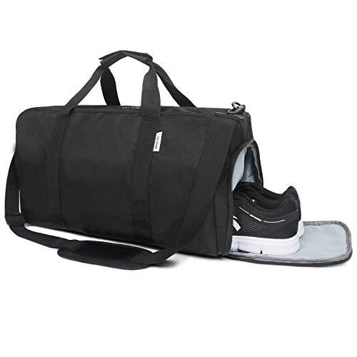 Oflamn Bolsa de Viaje Bolsa Fin de Semana - Bolsa de Deporte con Compartimento Zapatos para Mujeres y Hombres - Sports Gym Bag (1.0 Negro)